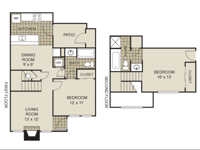 990 sq. ft. B10-C floor plan