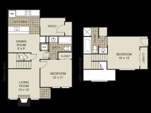 990 sq. ft. B10-C floor plan