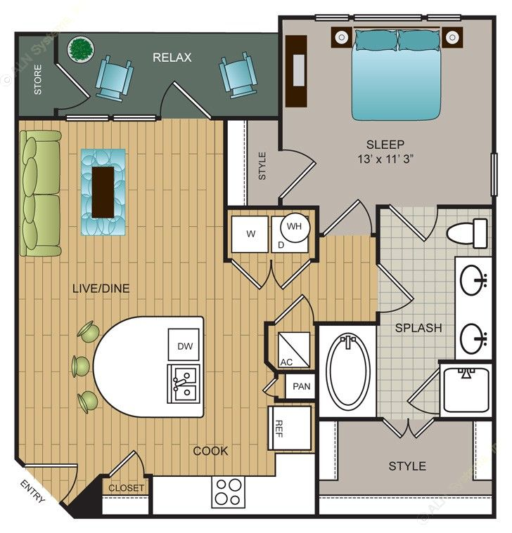 760 sq. ft. A9 floor plan