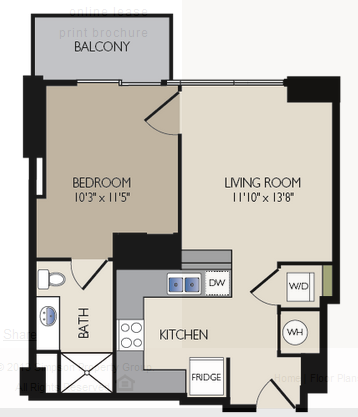 593 sq. ft. E3 floor plan