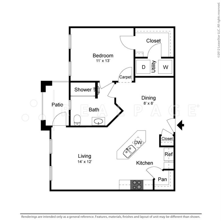 802 sq. ft. A3 floor plan