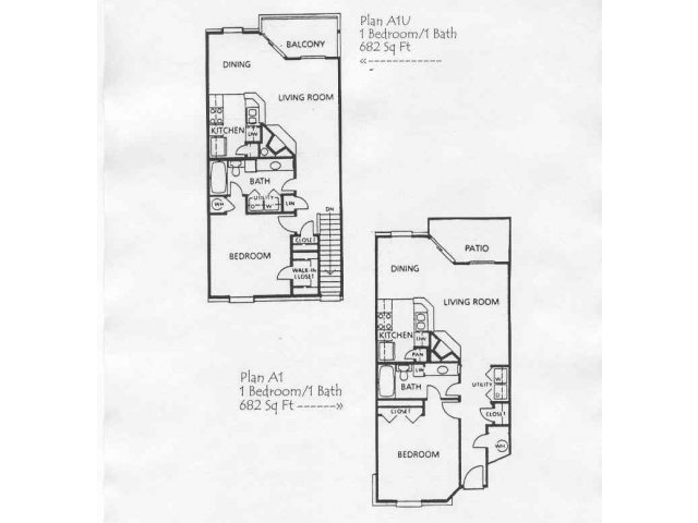 682 sq. ft. A1 floor plan
