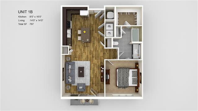 797 sq. ft. 1B-HC floor plan