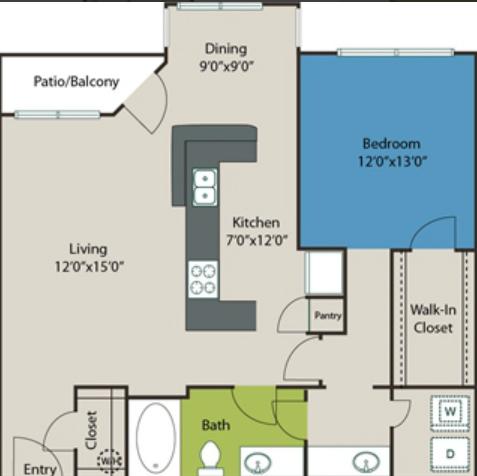 925 sq. ft. A7 floor plan