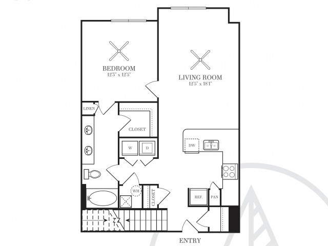 878 sq. ft. A5A floor plan