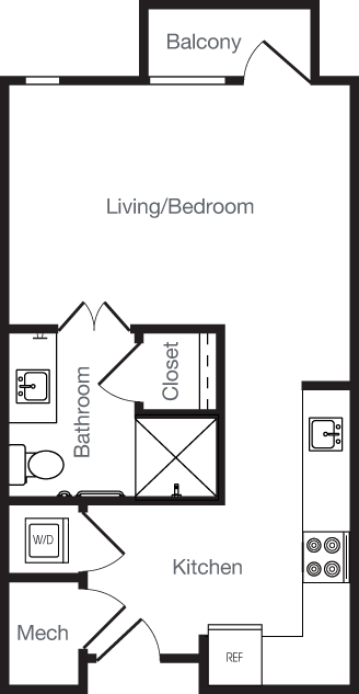 446 sq. ft. OB AFF floor plan