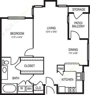 890 sq. ft. Adagio floor plan