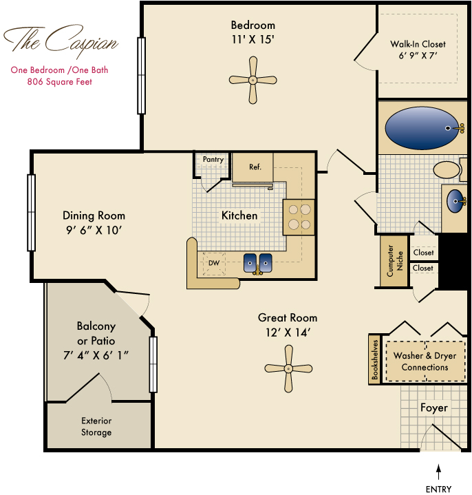 806 sq. ft. Caspian floor plan
