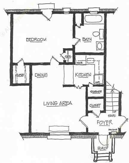 600 sq. ft. A-2 floor plan