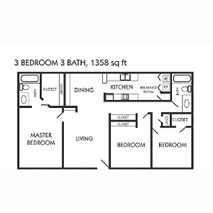 1,358 sq. ft. I floor plan