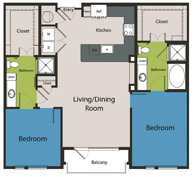 1,124 sq. ft. B1.1 floor plan