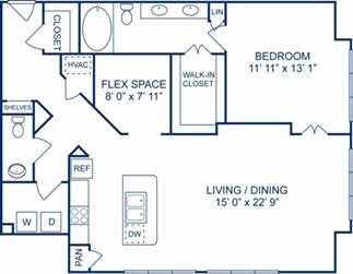 1,188 sq. ft. PRAQUE floor plan