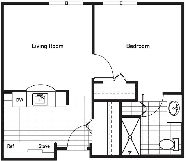 584 sq. ft. BushyCreek floor plan