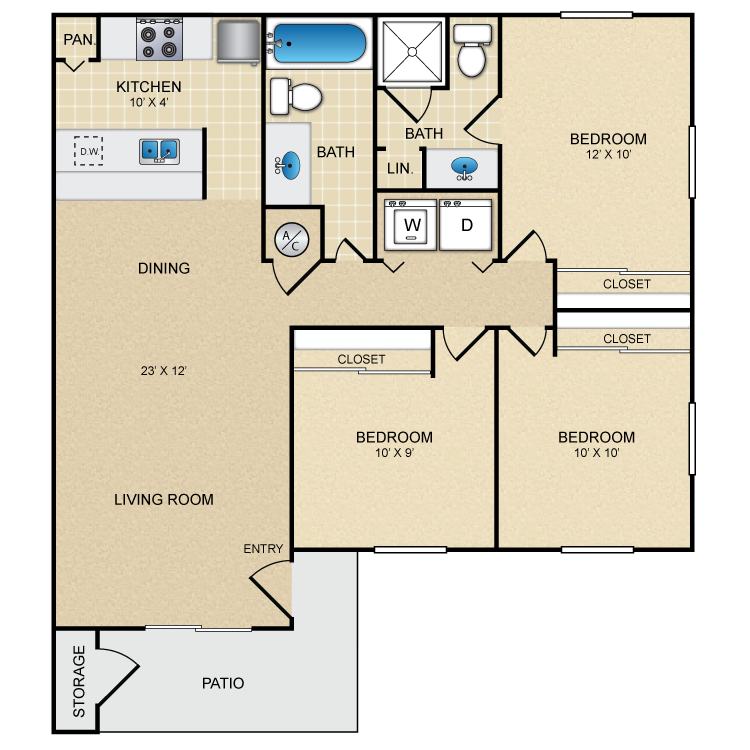 1,050 sq. ft. El Rayosol floor plan