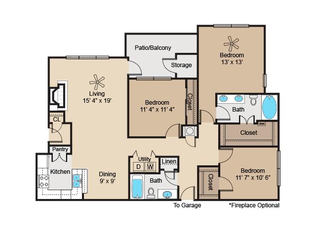 1,368 sq. ft. to 1,415 sq. ft. C1 floor plan
