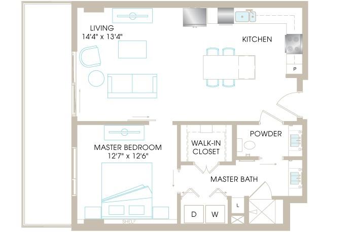 816 sq. ft. A4 floor plan