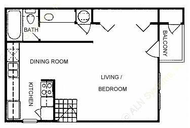 496 sq. ft. A floor plan