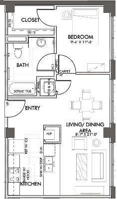 640 sq. ft. Henderson 60% floor plan