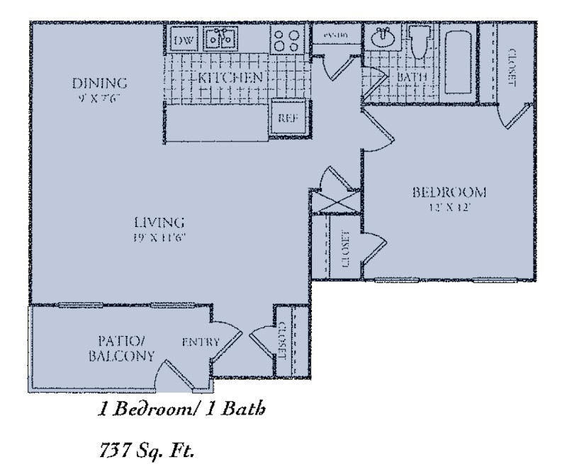 737 sq. ft. C floor plan