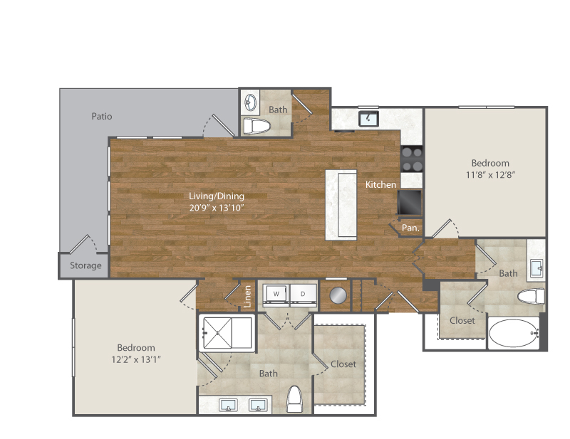1,302 sq. ft. B4 floor plan