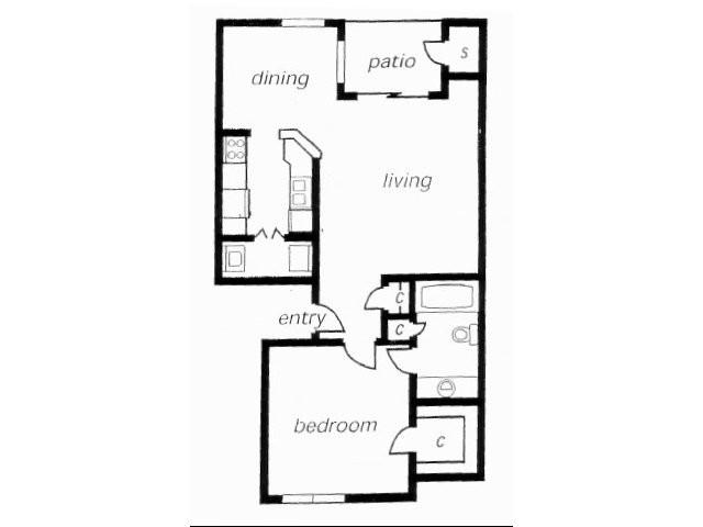 654 sq. ft. A1C floor plan
