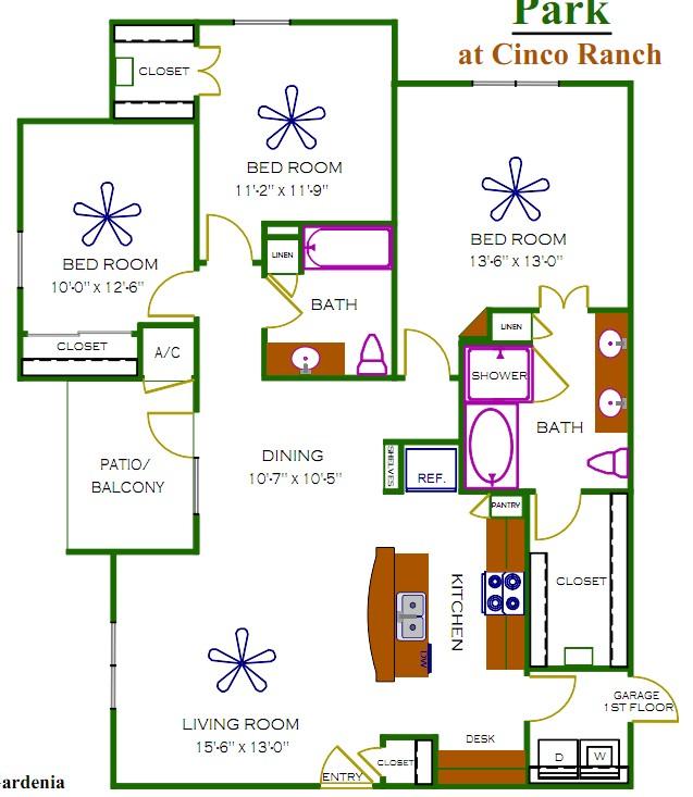 1,349 sq. ft. Oxford floor plan