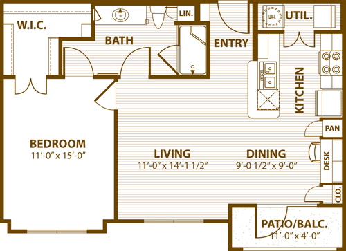 744 sq. ft. B1 50% floor plan