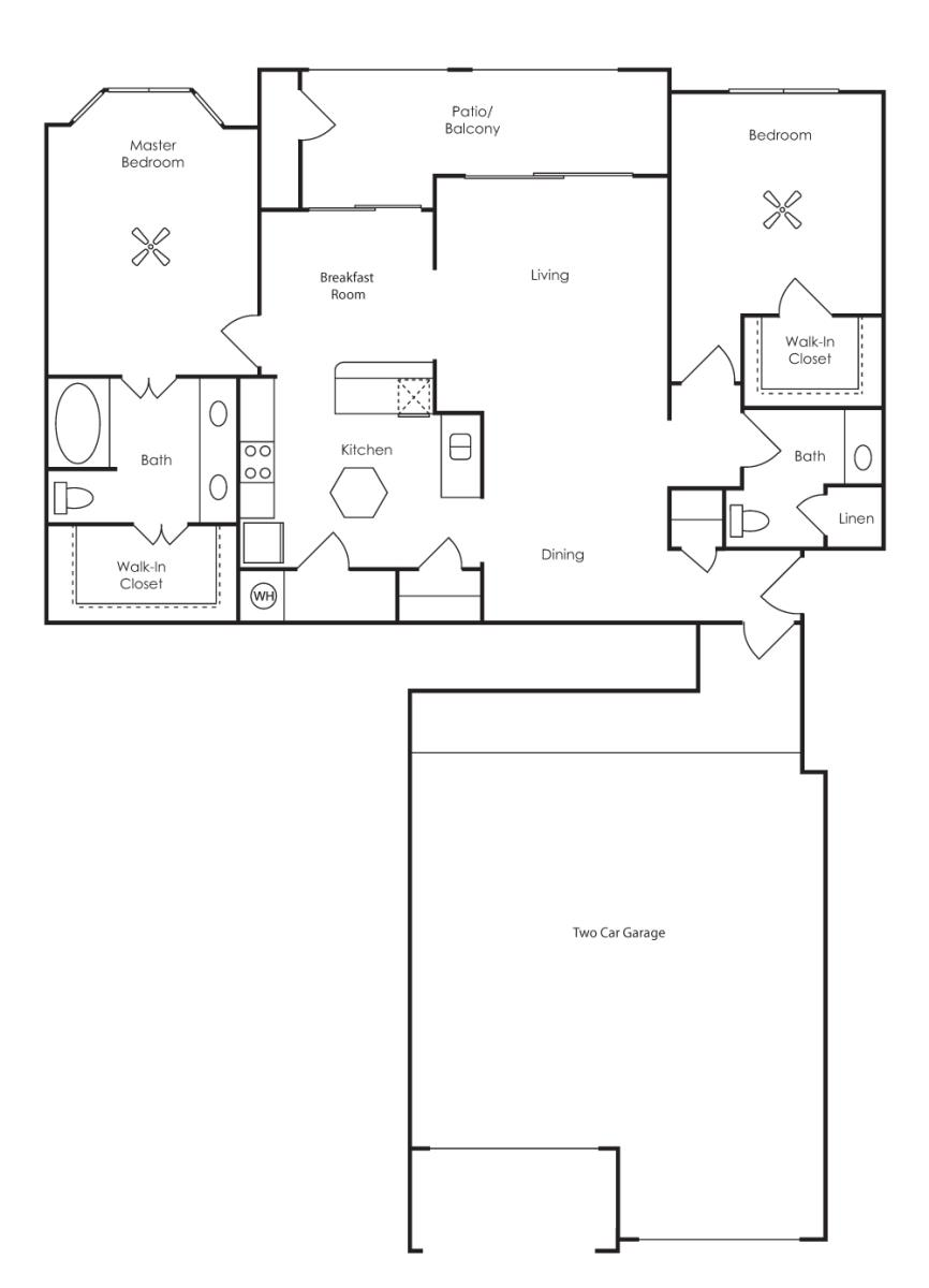 1,290 sq. ft. Marbella (B3-F) floor plan