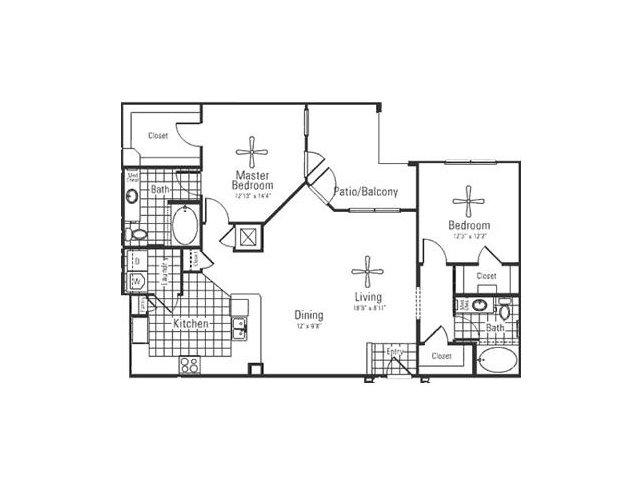 1,303 sq. ft. floor plan