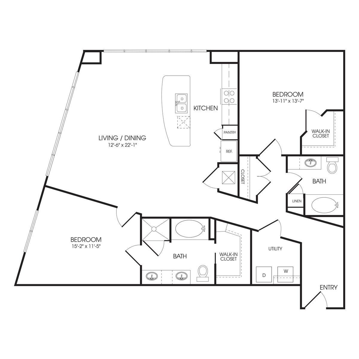 1,357 sq. ft. Park Lane floor plan