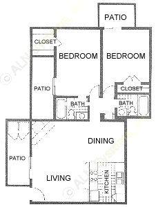 916 sq. ft. E1 floor plan