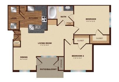 912 sq. ft. B1 floor plan