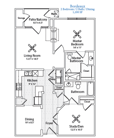 1,100 sq. ft. Bordeaux floor plan