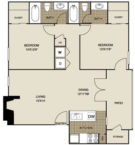933 sq. ft. B1 floor plan