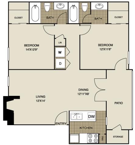 933 sq. ft. B1 floor plan