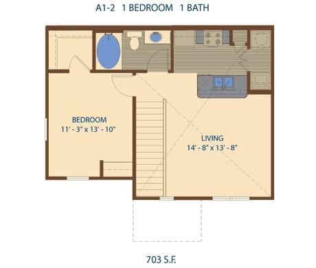 703 sq. ft. A2 floor plan