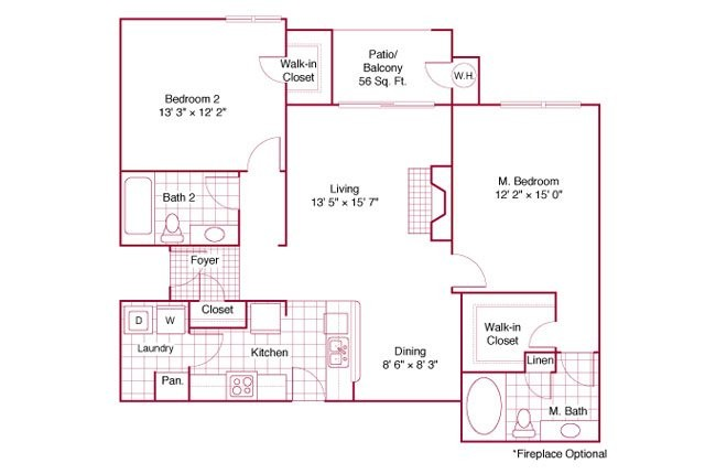 1,124 sq. ft. B21 floor plan