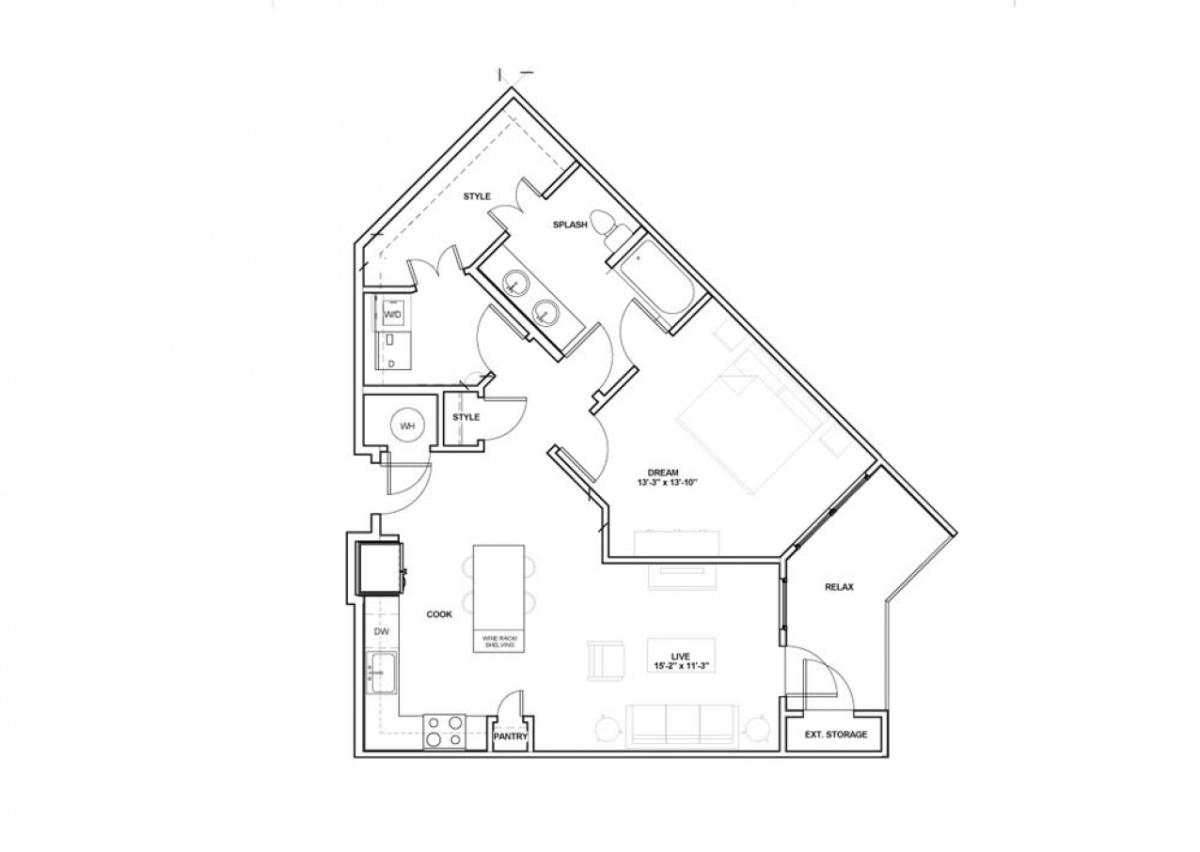 805 sq. ft. Kessler floor plan