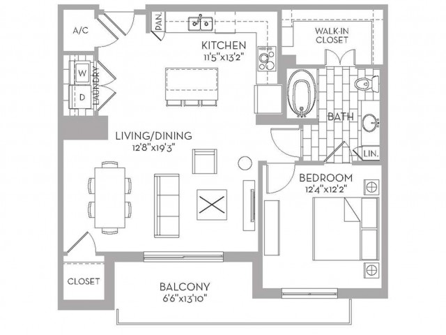 925 sq. ft. Royal(A.16) floor plan