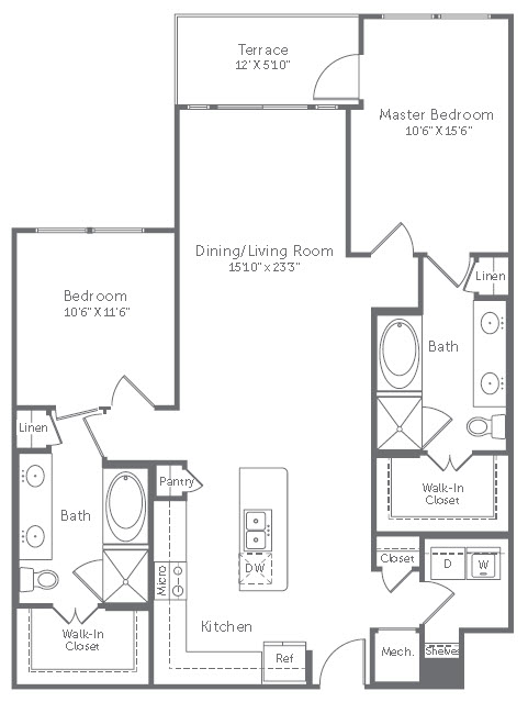 1,262 sq. ft. B11 floor plan