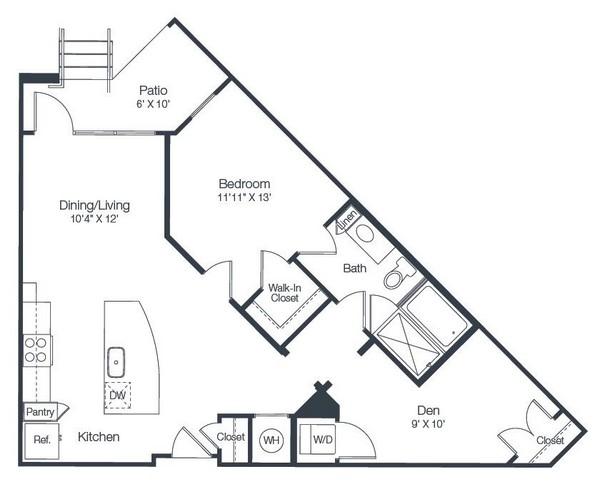 889 sq. ft. A5 floor plan