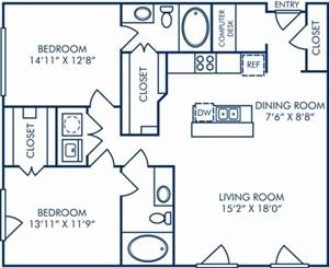 1,189 sq. ft. II/B3A floor plan