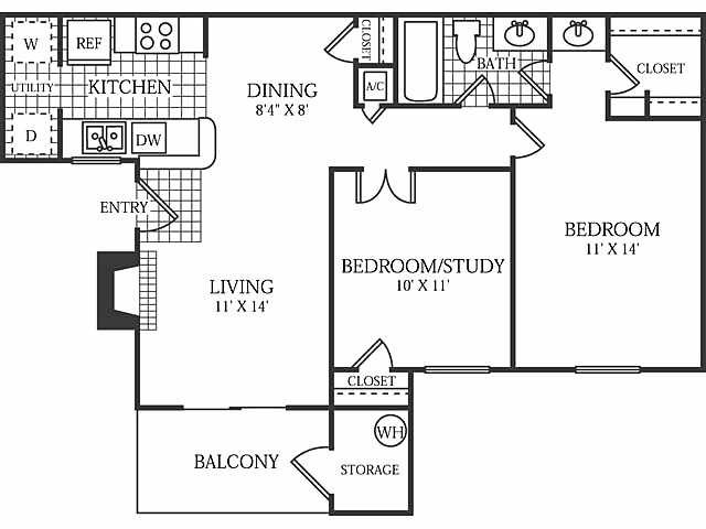 805 sq. ft. Manor floor plan