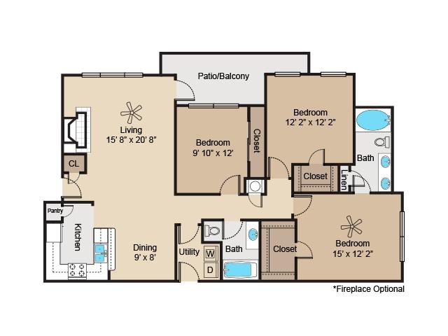 1,355 sq. ft. to 1,436 sq. ft. C2 floor plan