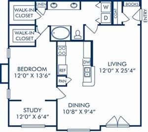 1,099 sq. ft. D2 floor plan