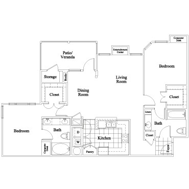1,138 sq. ft. Stonefield floor plan