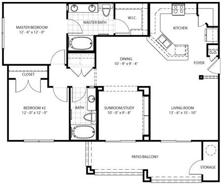 1,324 sq. ft. Alamo floor plan