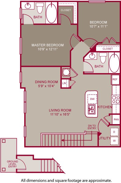 1,007 sq. ft. EDGEMERE II floor plan