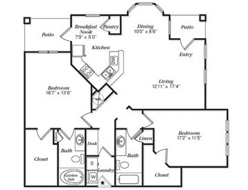 1,323 sq. ft. B2L/B2LG floor plan