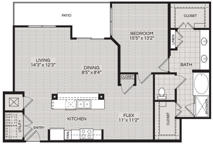 1,149 sq. ft. A5 floor plan